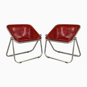 Rote Plona Sessel aus Leder von Giancarlo Piretti für Castelli / Anonima Castelli, 1970er, 2er Set
