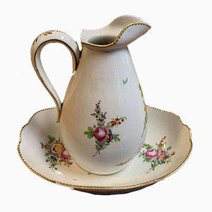 German Porcelain Jug and Basin, Set of 2