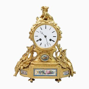 Bronze Gilt and Porcelain Mantel Clock by Billiet & Roblin, 1860s
