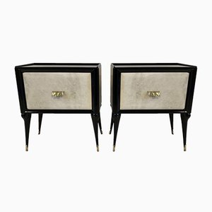 Italian Parchment and Brass Nightstands, 1950s, Set of 2