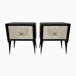 Tables de Chevet en Parchemin et Laiton, Italie, 1950s, Set de 2