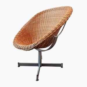 Rattan Swivel Chair by Dirk van Sliedregt for Gebroeders Jonkers Noordwolde, 1960s