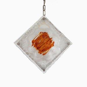 White and Amber Murano Glass Pendant Lamp, Italy, 1960s