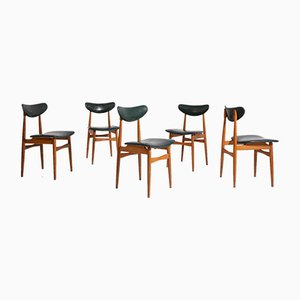 Nordic Chairs in Green Leather and Wood, 1950s, Set of 5