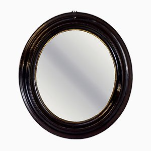 Antique Petite Ebonised Oval Mirror
