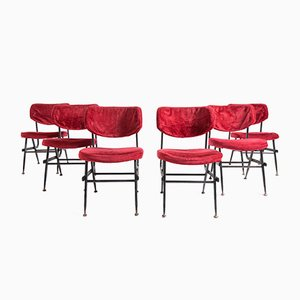Italian Red Velvet and Iron Dining Chairs, 1950s, Set of 6