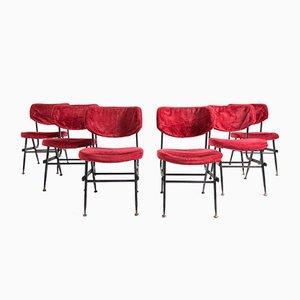 Italienische Esszimmerstühle aus rotem Samt & Eisen, 1950er, 6er Set
