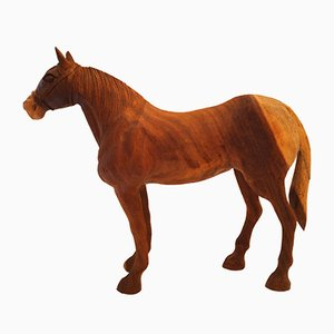 Vintage Hand-Carved Wooden Horse, 1950s