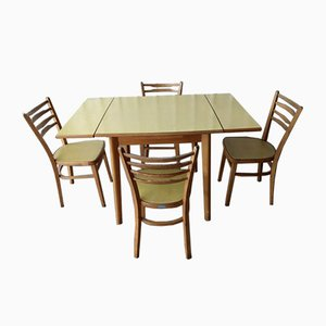 Mid-Century Yellow Formica Dining Table & Chairs Set from Sarden, Set of 5