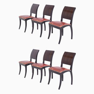 Art Deco French Chairs, 1920s, Set of 6