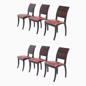 Französische Art Deco Stühle, 1920er, 6er Set