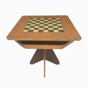 Hand Made and Hand Painted Folk Art Gaming Table for Chess / Chequers with Under Tier for Playing Pieces, 1920s