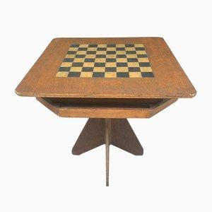 Table de jeu d'art populaire fabriquée et peinte à la main pour échecs / dames avec niveau inférieur pour pièces de jeu, années 1920