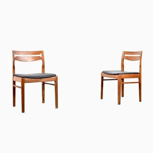Teak and Leatherette Chairs, 1960s, Set of 2