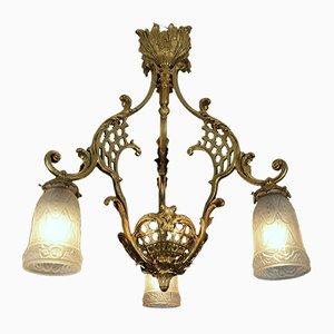 Antike französische Deckenlampe aus Bronze