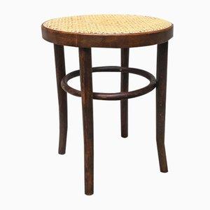 Taburete de madera con asiento de paja, años 50