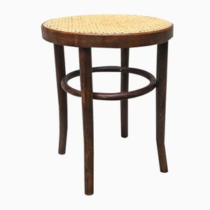 Wooden Stool with Straw Seat, 1950s