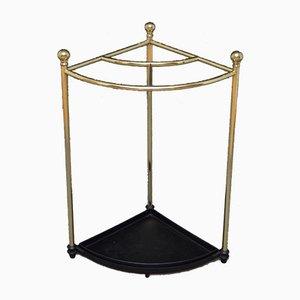 Antique Edwardian Corner Umbrella Stand in Brass