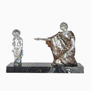 Rischmann, bronzo, policromo, XX secolo