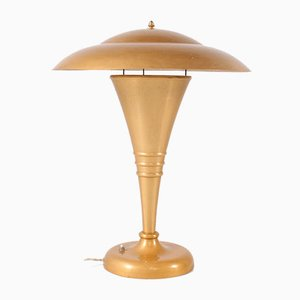 Art Deco Aluminum Golden Table Lamp, 1950s