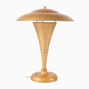 Goldene Art Deco Tischlampe aus Aluminium, 1950er