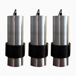Aluminum and Black Pendant Lamps, Set of 3