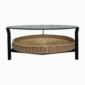 Coffee Table with Glass Top and Rattan Basket, 1960s