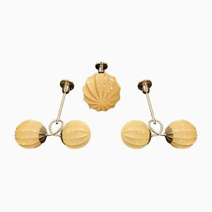 Art Deco Ceiling Lamps from BAG Turgi, 1920s, Set of 3
