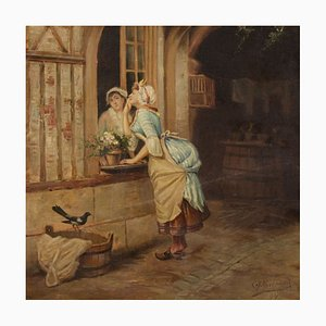 Antique French Popular Scene Painting, 19th Century