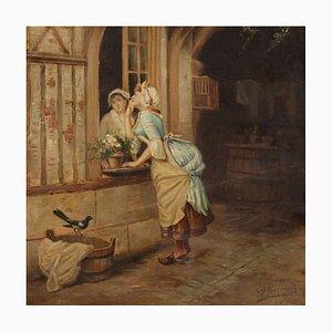 Pittura antica raffigurante la scena popolare, Francia, XIX secolo