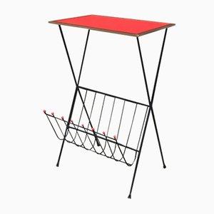 Table Basse en Formica Rouge avec Porte-Revues, Italie, 1960s