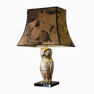 Silver Metsl Owl Table Lamp, France, 1960s