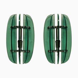 Applique in vetro verde di Veca, anni '60, set di 2