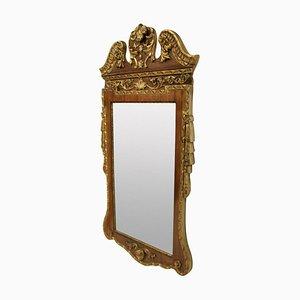 Specchio vintage in stile Giorgio II in noce e pacco dorato, anni '30