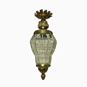 Antique Gilt Bronze and Glass Lantern Ceiling Lamp