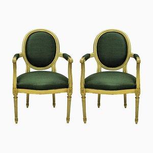 Französische vergoldete Vintage-Sessel im Louis XV-Stil, 1950er Jahre, 2er-Set