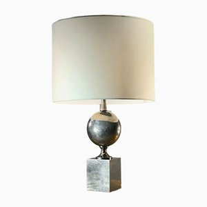 Vintage Nickel-Plated Table Lamp by Philippe Barbier, France, 1970s