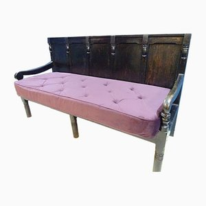 Lancashire Victorian Ebonised Oak Hall Bench, 1884