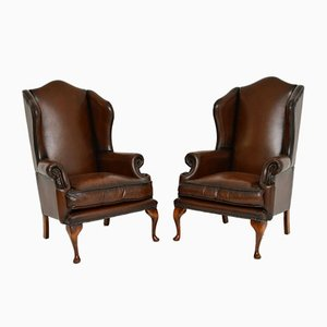 Mid-Century Georgian Style Leather Wing Back Armchairs, Set of 2
