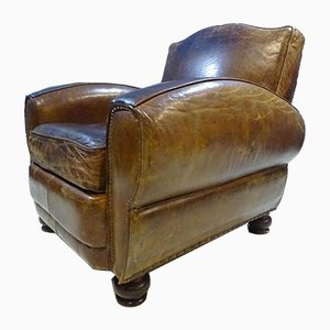 Art Deco Moustache Back Leather Armchair, 1930s