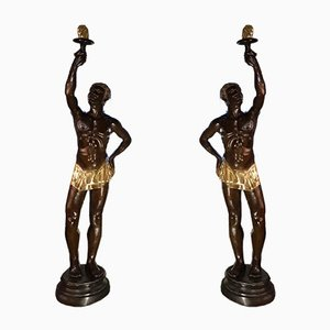 Huge Bronze Statutes of Nubians Carrying a Torch, Set of 2