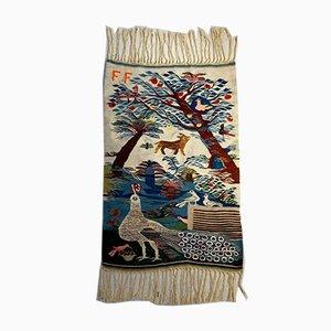 Vintage Wool Carpet with Figurative Decoration, France