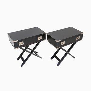 Mesas auxiliares en negro de madera, años 80. Juego de 2