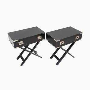 Tables d'Appoint Noires en Bois, 1980s, Set de 2