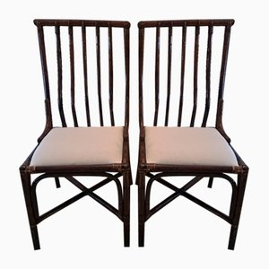 Italian Bamboo Wicker Chairs, 1960s, Set of 2