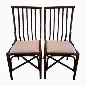Italienische Bambus Korbgeflecht Stühle, 1960er, 2er Set