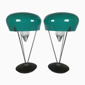 Lampes de Bureau en Verre de Murano par De Majo, 1970s, Set de 2