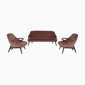 Pink Velvet Cocktail Sofa and Cocktail Club Chairs, 1950s, Set of 3