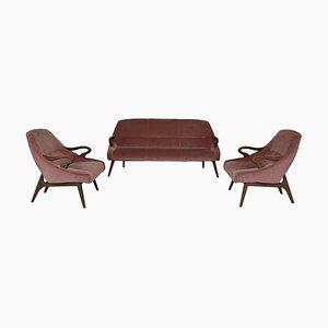 Pink Velvet Cocktail Sofa und Cocktail Club Stühle, 1950er Jahre, 3er Set