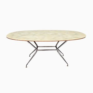 Midcentury Wooden and Iron Dining Table with Glass Top, Italy 1950s